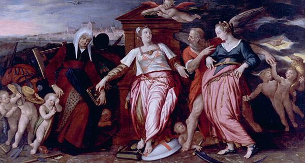 Isaac Claesz. van Swanenburg, De Leidse Stedenmaagd met de Oude en de Nieuwe Neringhe, 1596-1601 (Museum De Lakenhal, Leiden)